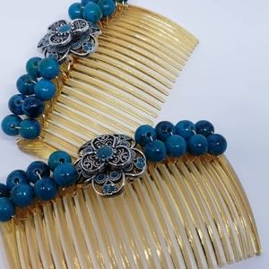 Two Rustic Turquoise colored Plastic Haircombs